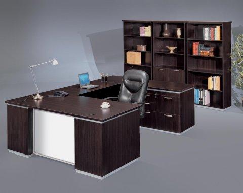 Pimlico Right Personal File U Desk with White Glass Modesty Panel 7020-507WG
