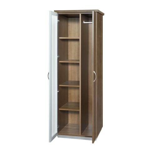 Pimlico Left Hand Facing Bookcase Wardrobe with White Glass and Laminate Doors 7027-08LHWG