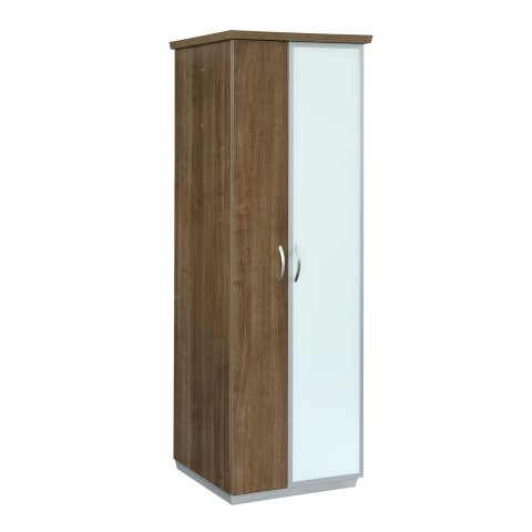 Pimlico Right Hand Facing Bookcase Wardrobe with White Glass and Laminate Doors 7027-08RHWG