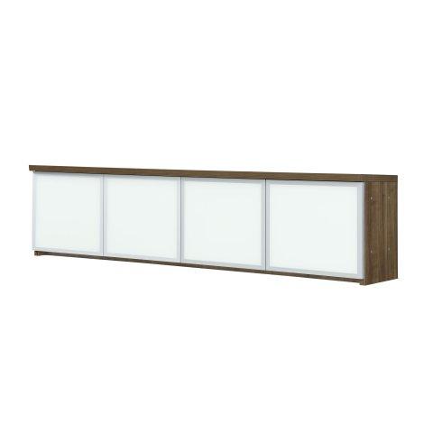 Pimlico Wall Mountable Overhead Storage with White Glass Doors 7027-404WG