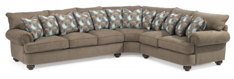 Fabric Sectional With Nailhead Trim
