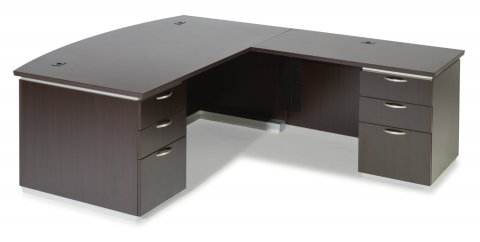Pimlico Right Executive Bow Front L Desk with Laminate Modesty Panel 7020-47BL