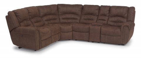 New Town Fabric Power Reclining Sectional 1410-SECTP shown with 57P, 59P, 23, 19, 72, & 58P pieces in 136-70