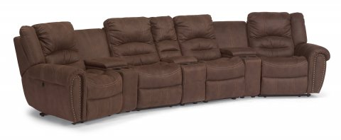 New Town Fabric Power Reclining Sectional 1410-SECTP shown with 57P, 70, 59P, 72, 59P, 70, & 58P pieces in 136-70