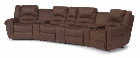 New Town Fabric Reclining Sectional 1410-SECT shown with 57, 70, 59, 72, 59, 70, & 58 pieces in 136-70