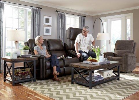 Samantha Fabric Lift Reclining Sofa Lifestyle