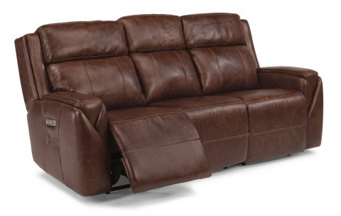 leather power reclining sofa with power headrests - Mission Style Recliner
