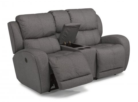fabric power reclining loveseat with console