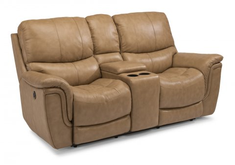 Coco Leather Power Reclining Loveseat with Console 1851-604P in 485-72
