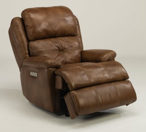 Leather Power Gliding Recliner With Power Headrest