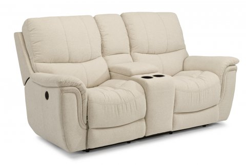 Coco Fabric Power Reclining Loveseat with Console 1850-604P in 372-11