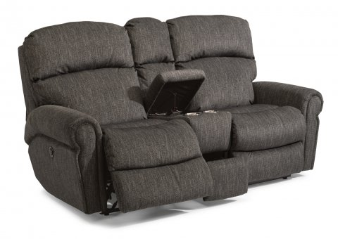 Captivating Fabric Power Reclining Loveseat With Console