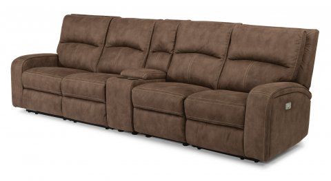 Rhapsody Fabric Power Reclining Sectional with Power Headrests 1150-SECTPH shown with 57PH, -59P,-72, -19, -58PH pieces in 136-72