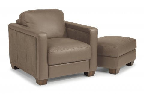 Wyman Leather Chair 1337-10 & Ottoman 1337-08 in 450-84