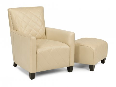 Cristina Leather Chair 1278-10 & Ottoman 1278-08 in 014-86