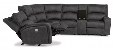 fabric power reclining sectional with power headrests