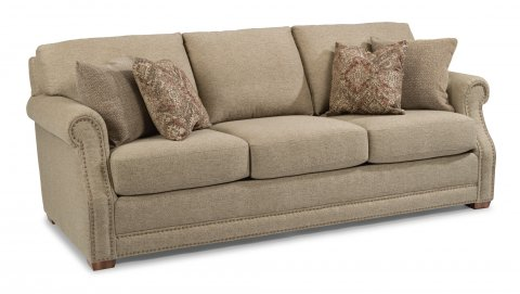 Elegant Fabric Sofa With Nailhead Trim
