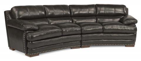 Leather Conversation Sofa With Nailhead Trim