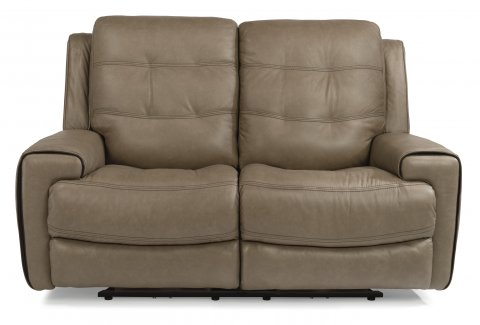 leather power reclining loveseat with power headrests - Power Recliner