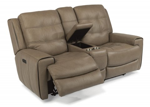 reclining loveseat with console cover leather power headrests without dual microfiber