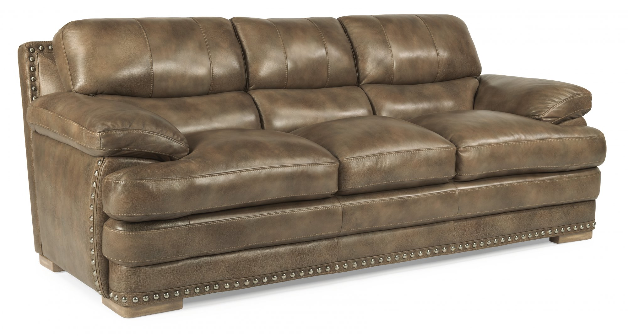 leather three cushion sofa with nailhead trim. Interior Design Ideas. Home Design Ideas
