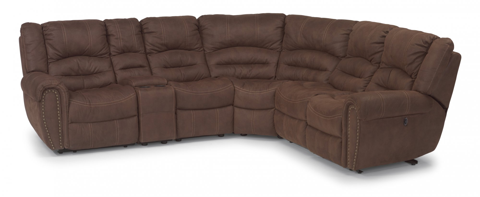 Leather sectional recliner justin leather sectional with for Burgundy leather chaise