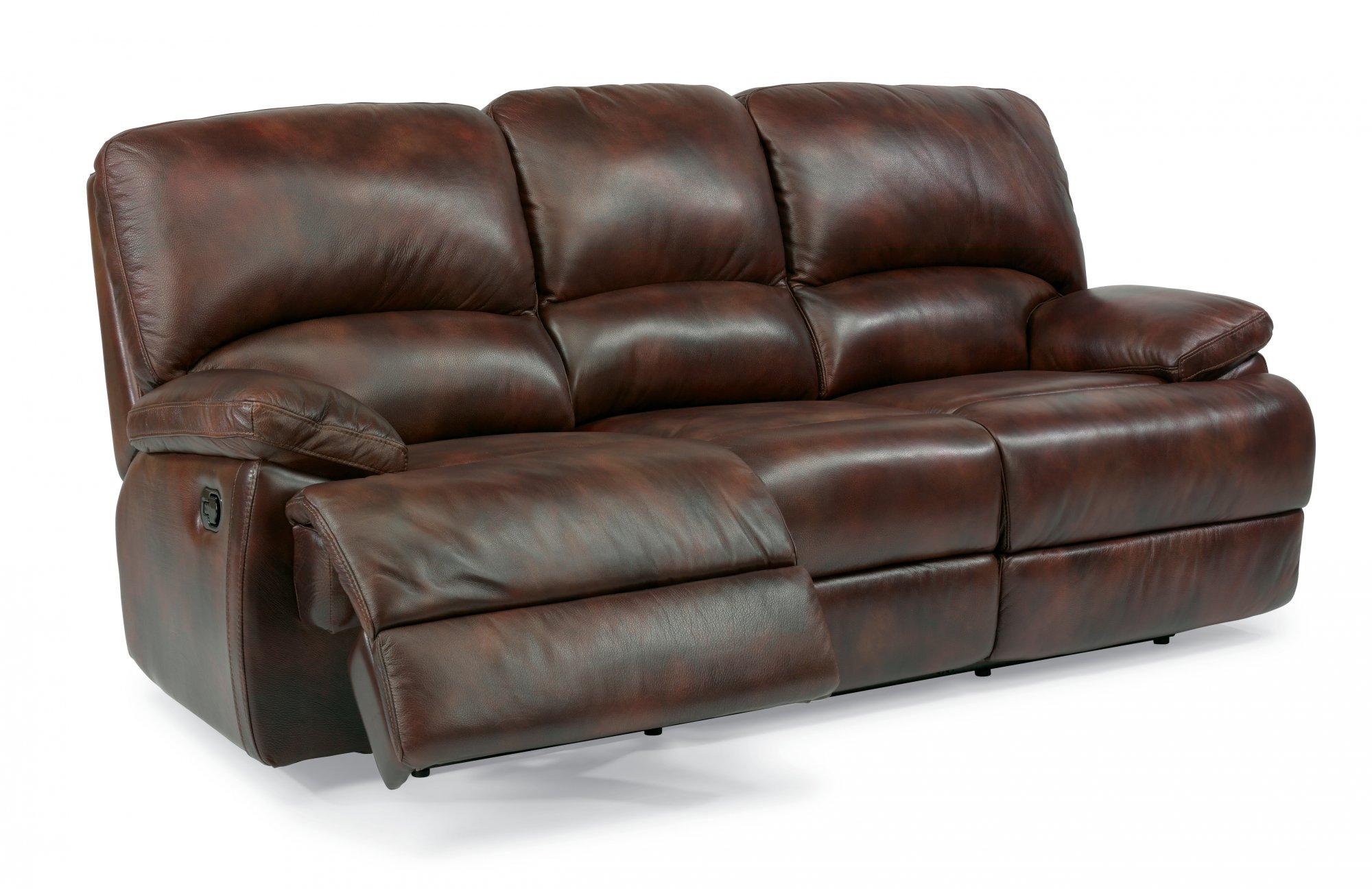 Leather Three-Cushion Reclining Sofa with Chaise Footrests  sc 1 st  Flexsteel : reclining sofa chaise - islam-shia.org