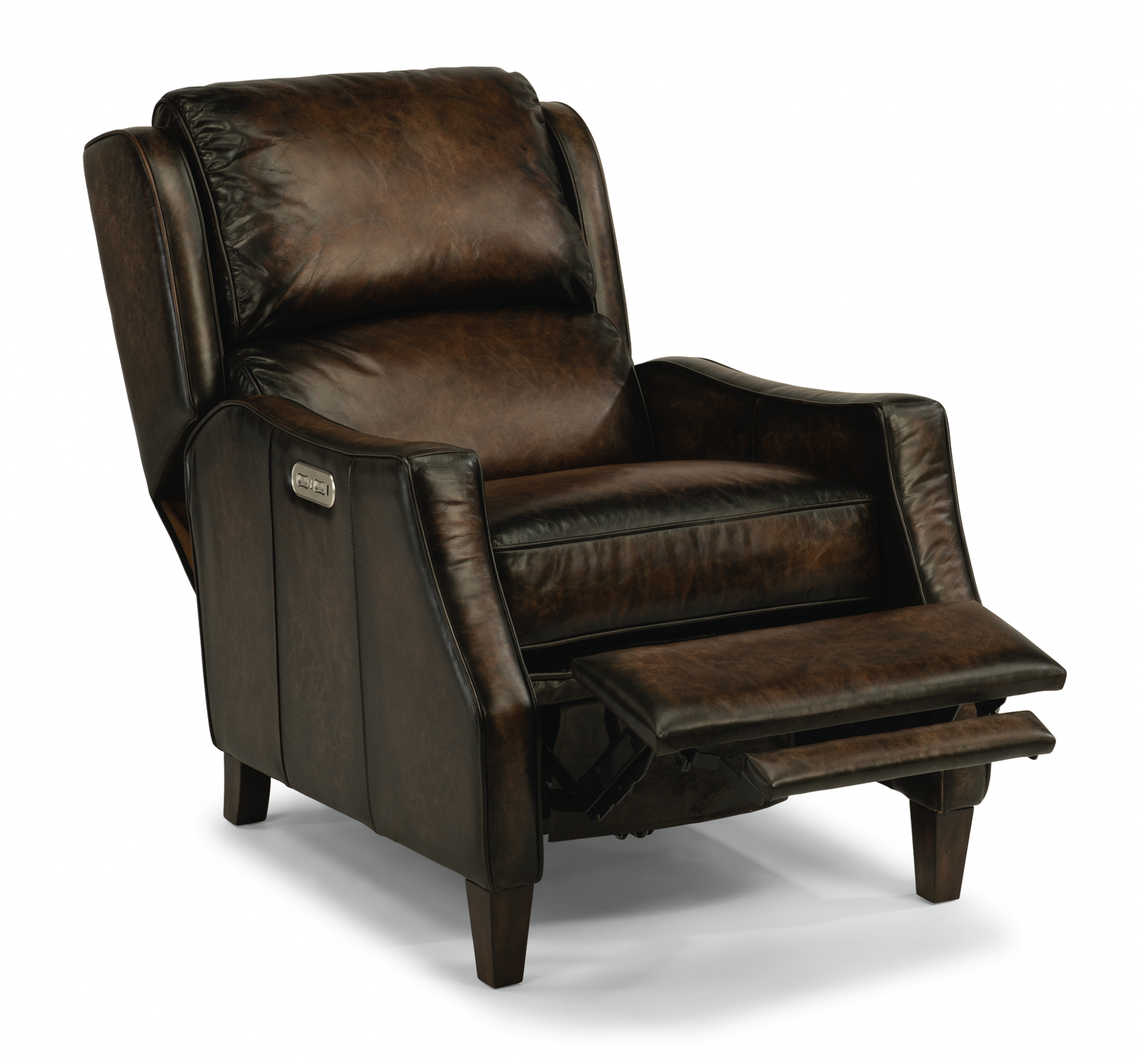 Leather Power High Leg Recliner With Power Headrest