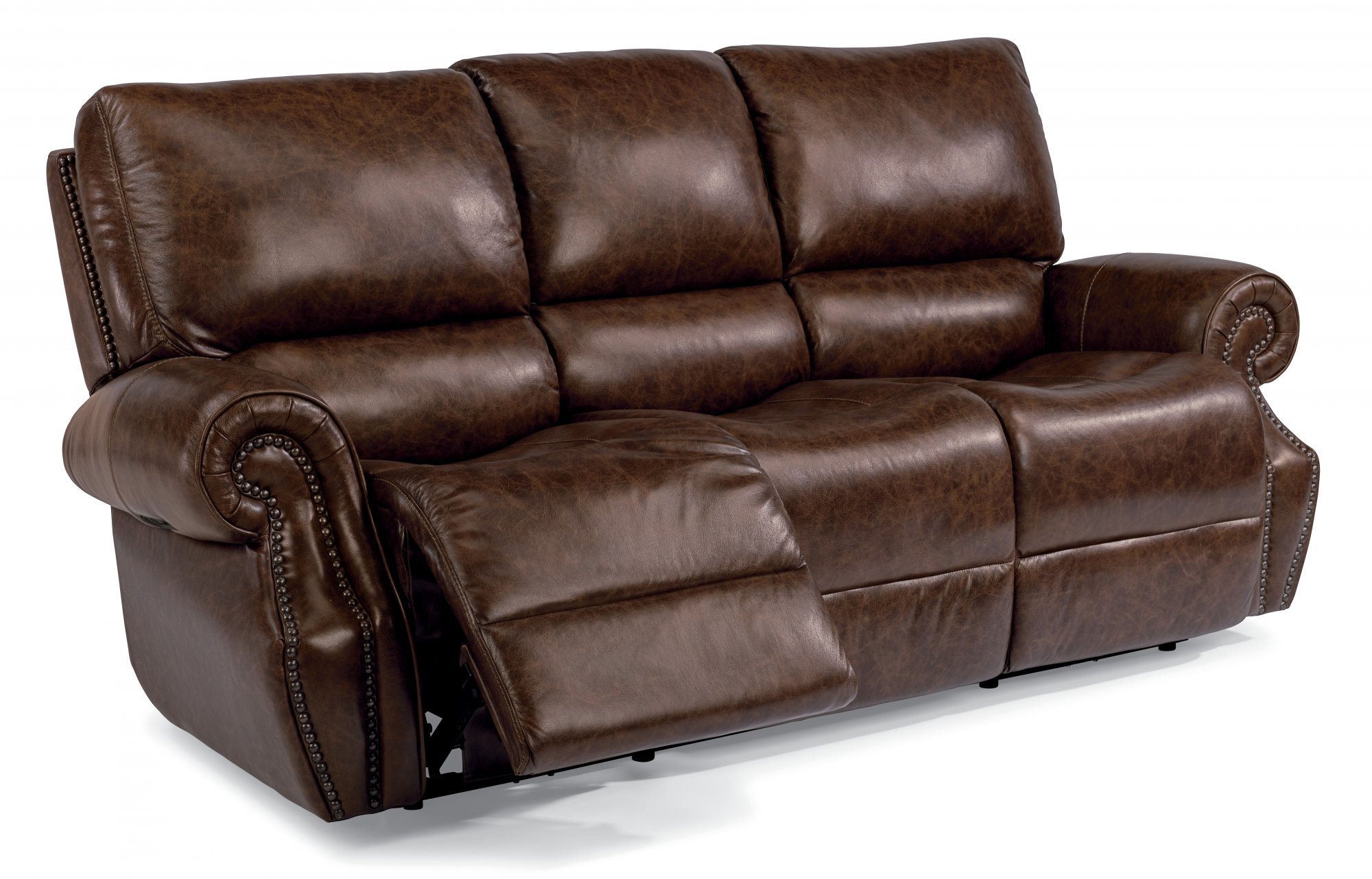 Elegant Leather Power Reclining Sofa With Power Headrests