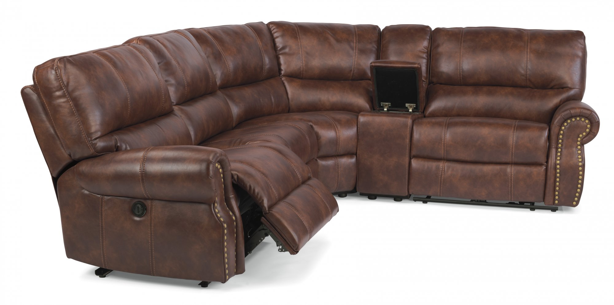 Fabric Power Reclining Sectional  sc 1 st  Flexsteel : brown reclining sectional - Sectionals, Sofas & Couches