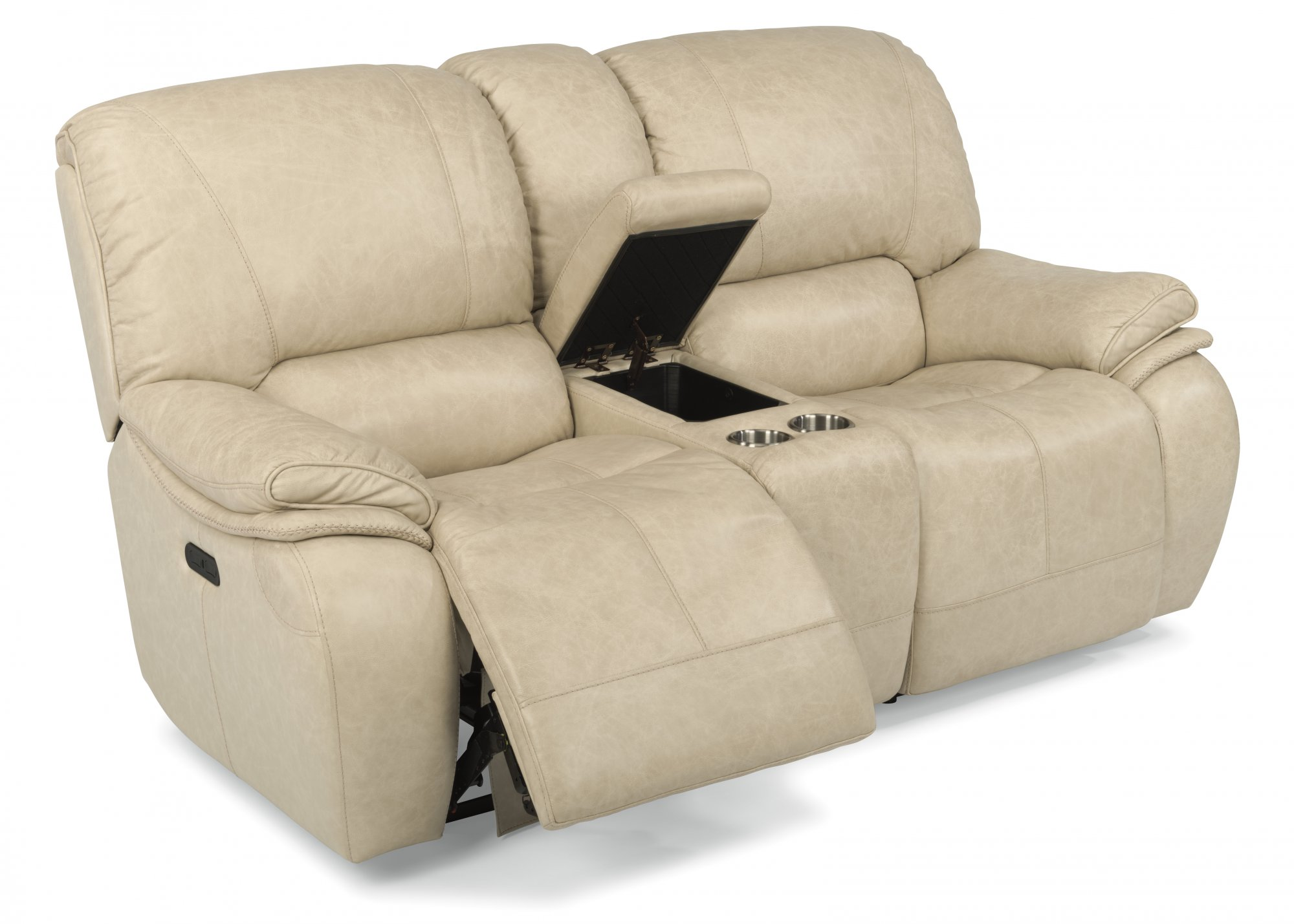 sofas and loveseats  reclining sofas and sleepers  flexsteel - leather power reclining loveseat with console and power headrests