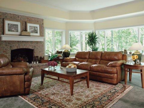 Dylan Leather Three-Cushion Sofa Lifestyle