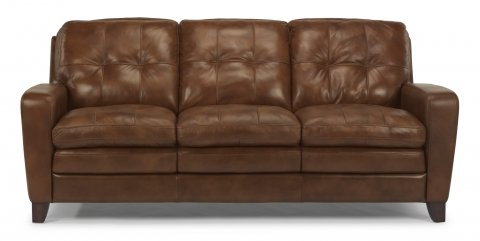 South Street Leather Sofa w/ Large Square Tufting | Flexsteel