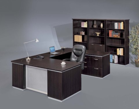 gray office desk u shaped right personal file desk with frosted glass modesty panel desks hutches flexsteelcom