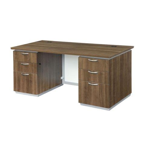 Pimlico Executive Desk with White Glass Modesty Panel 7027-30WG