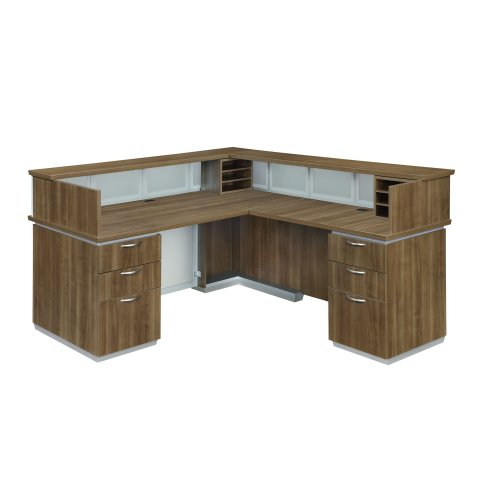 Pimlico Right Reception L Desk with Frosted Glass Modesty Panel 7027-66FP