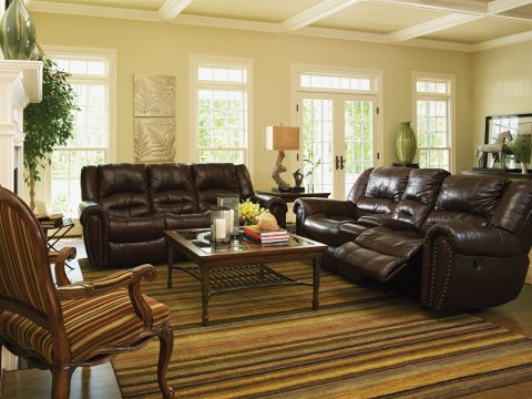 Crosstown Leather Reclining Sofa Lifestyle