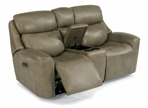Mystic Leather Power Reclining Loveseat with Console and Power Headrests 1471-64PH in 014-15
