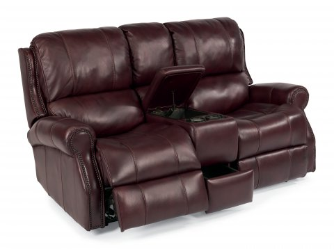 Miles Leather Power Reclining Sofa W Overstuffed Cushions