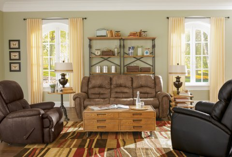 Downtown Fabric Reclining Sofa Lifestyle