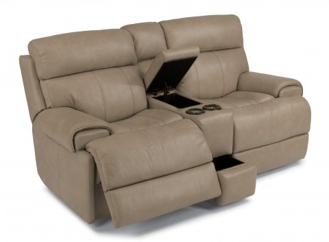 Margot Leather Power Reclining Loveseat with Console 1441-604P in 832-80
