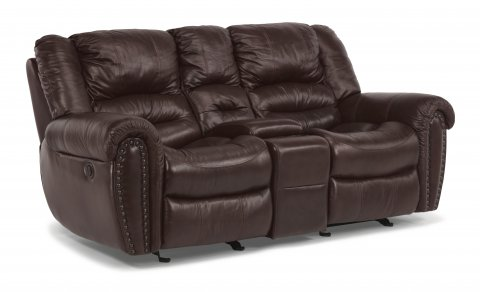 Crosstown Leather Power Reclining Loveseat with Console 1210-604P in 048-62