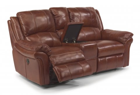 Dandridge Leather Power Reclining Loveseat with Console 1351-604P in 368-54