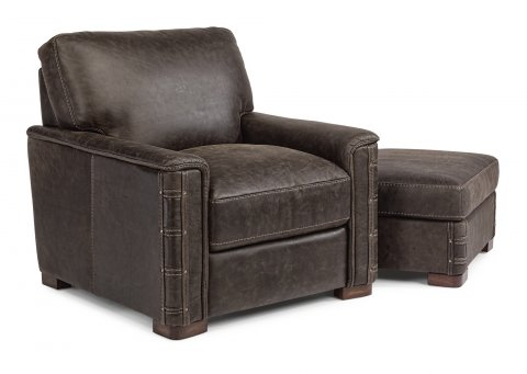 Lomax Leather Chair 1131-10 & Ottoman 1131-08 in 459-70