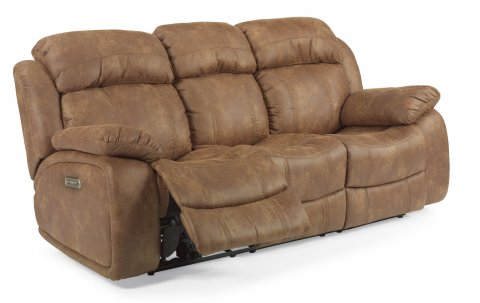 Como Fabric Power Reclining Sofa with Power Headrests 1408-62PH