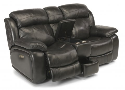 Como Leather Power Reclining Loveseat with Console and Power Headrests 1409-64PH in 006-02