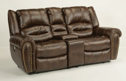 Downtown Fabric Power Reclining Loveseat with Console and Power Headrests 1710-64PH in 220-70.