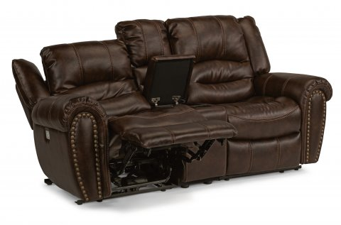 fabric power reclining loveseat with console and power headrests