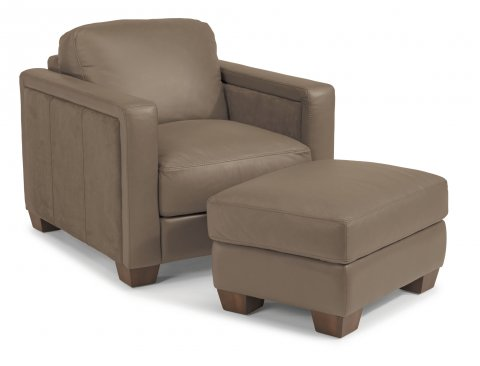 Wyman Leather Chair 1337-10 & Ottoman 1337-08 in 450-84