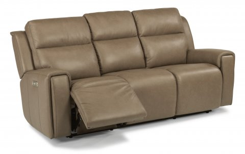 Leather Power Reclining Sofa With Power Headrests